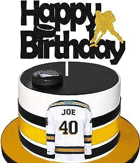Ice Hockey Player Happy Birthday Cake Topper Golden Glitter for Boys Girls Men Sports Themed Birthday Party Supplies, Cake...