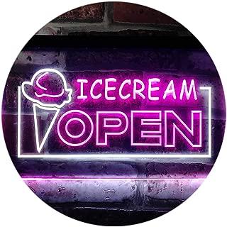 ADVPRO Open Ice Cream Shop Dual Color LED Neon Sign White & Purple 16