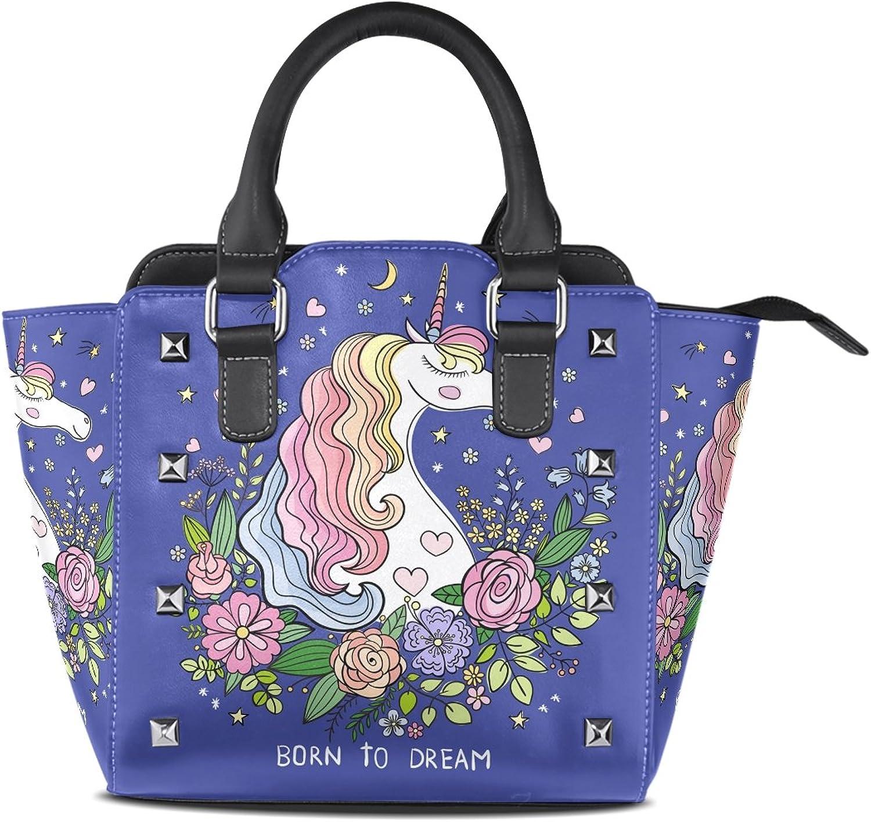 My Little Nest Women's Top Handle Satchel Handbag Born to Dream Unicorn Ladies PU Leather Shoulder Bag Crossbody Bag