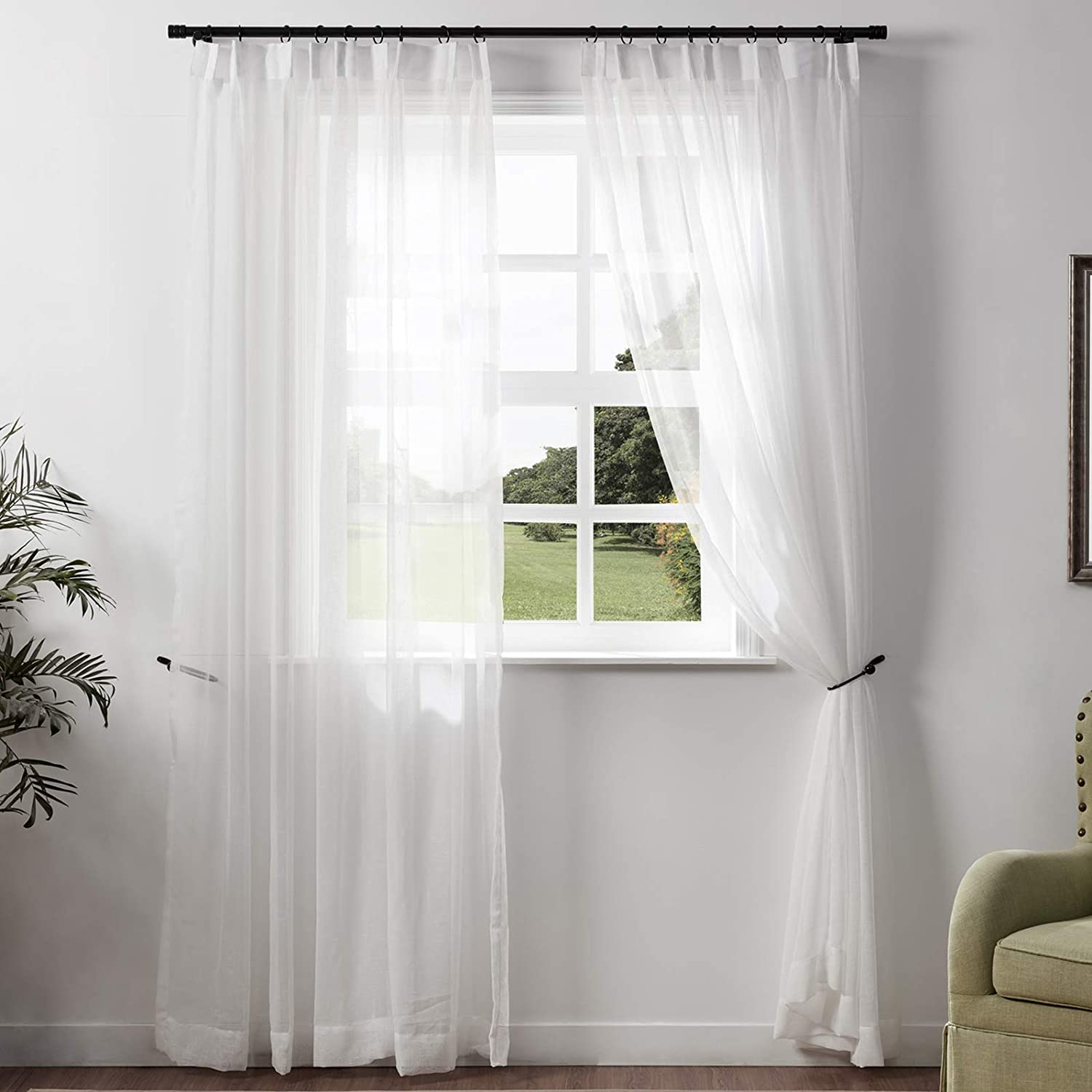 Limited time for free shipping ChadMade Extra Long Popular product Natural Linen Sheer 144 Inch Pinc Drape