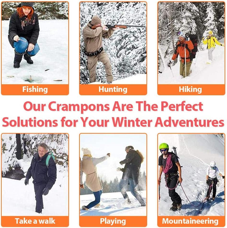 Ice Grippers Traction Cleats Shoes and Boots Rubber Snow Shoe Spikes Crampons with 10 Steel Studs Cleats Prevent Outdoor Activities from Wrestling CZSMART Ice Snow Grips