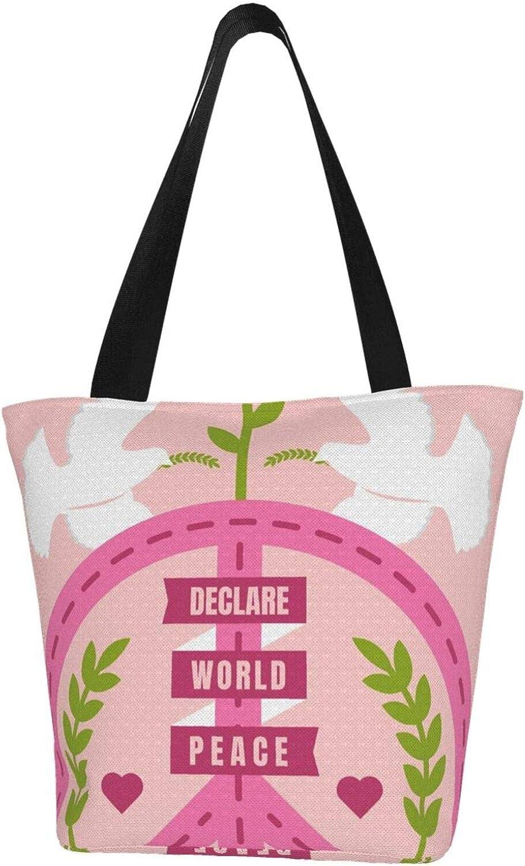 Pink World Peace Symbol Dove Love Themed Printed Women Canvas Handbag Zipper Shoulder Bag Work Booksbag Tote Purse Leisure Hobo Bag For Shopping