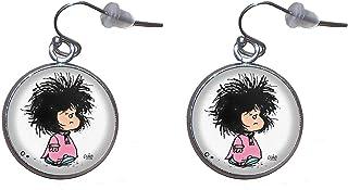 Pendientes de colgar de Acero, Diámetro 20mm, Hecho a Mano Ilustración Mafalda