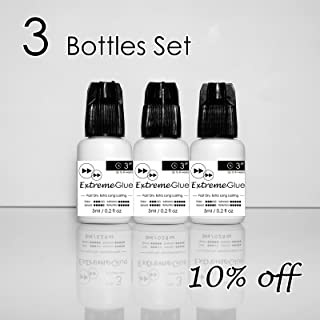 [3-bottle Set:10% Off ] 5ml Mia Extreme Glue Adhesive Fast Strong Eyelash Extension Semi Permanent Low Fume … (3 Bottles(10% Off))