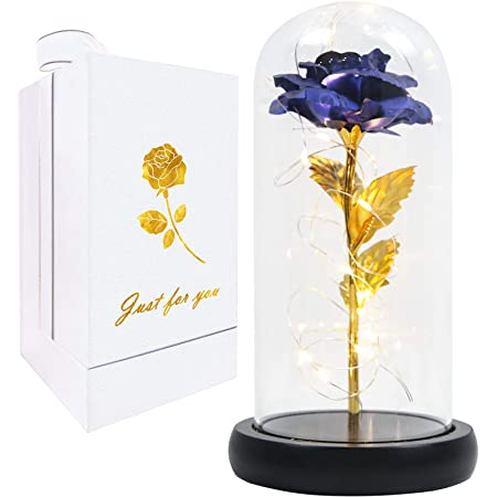 Crystal Led Galaxy Rose In The Glass Dome Christmas Gift for Girlfriend Mom Wife