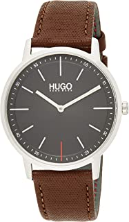 Hugo Boss Unisex-Adult Black Dial Brown Leather Watch - 1520014