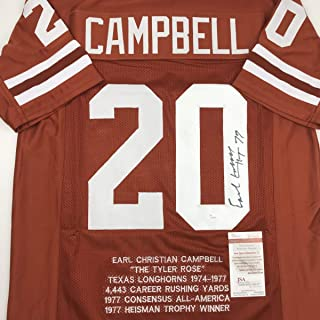 Autographed/Signed Earl Campbell HT 77 Texas Orange Stat College Football Jersey JSA COA