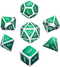 Hestya 7 Pieces Metal Dices Set DND Game Polyhedral Solid Metal D&D Dice Set with Storage Bag and Zinc Alloy with Enamel for Role Playing Game Dungeons and Dragons, Math Teaching (Silver Green)
