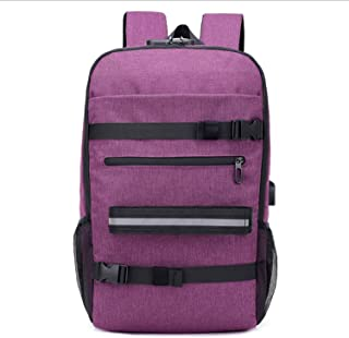 Casual Backpack,Fashion Sports Skateboard Backpack with USB Charging,Anti-Theft Outdoor Travel Backpack for Teenagers Purple