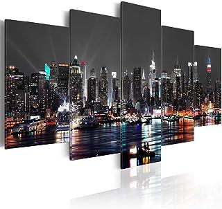 JWBOSS 5 Panels New York - Cuadro de Lienzo, Pintura al óleo, decoración de Oficina y Nueva York, Pintura al óleo de visión Nocturna sobre Lienzo