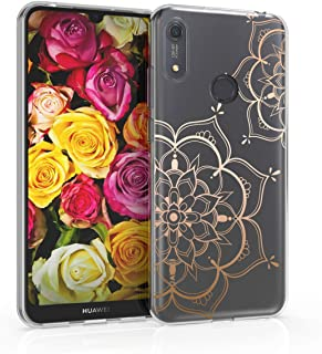 kwmobile TPU Case Compatible with Huawei Y6s (2019) - Soft Crystal Clear IMD Design Back Phone Cover - Flower Twins Rose G...