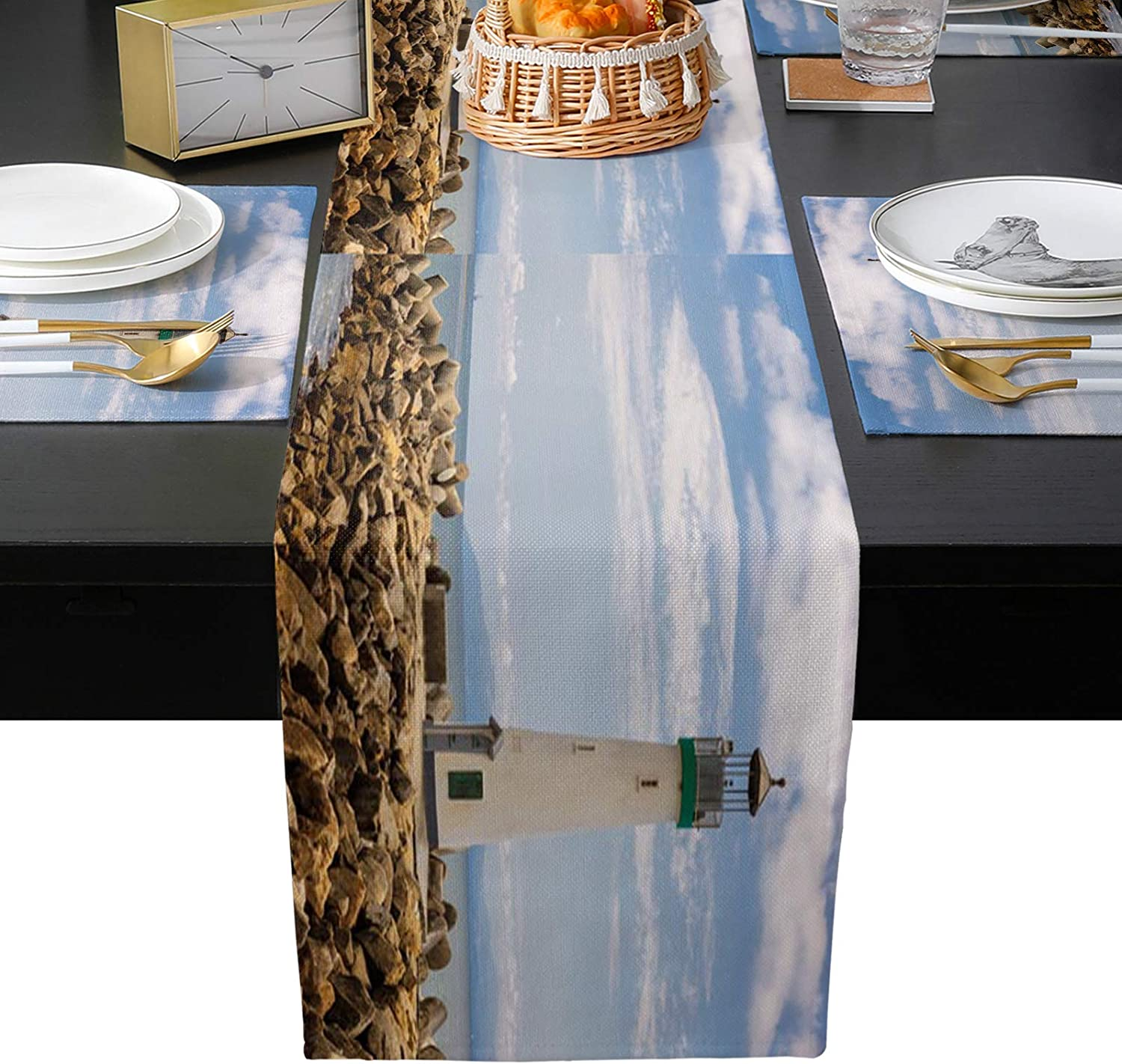 IDOWMAT Burlap Table Runner with Lightho Dealing full price reduction Walton 4 Placemats Max 48% OFF Pcs