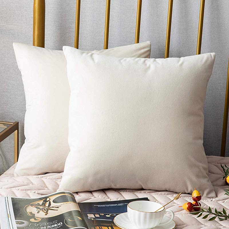 DEZENE Throw Pillow Covers 2 Pack Solid Soft Velvet Square Decorative Pillow Cases Accent Pillowcases Euro Cushion Covers For Farmhouse Couch Sofa Kids Indoor Outdoor 18 X 18 Inch Cream