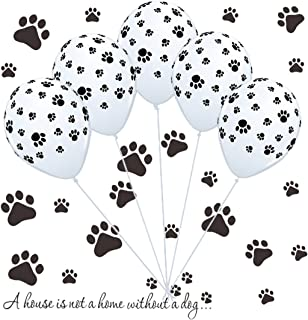 50 Dog Paw Print Balloons & Vinyl Decals Kit for Paw Birthday Patrol Party, Puppy Party, Dog Animal Rescue Events