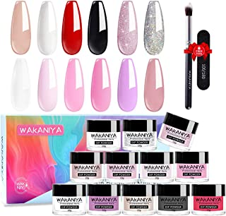 Wakaniya 14pcs Dip Powder Nails Color Set-12 Nude Pink White Clear Glitter Colors Dipping Powder Nails System For DIY Fren...
