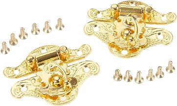 SSB-DAKOU 2 stuks antieke gouden doos vergrendeling slot sleutel hardware meubels voor juwelenkistjes koffer gesp clip slu...
