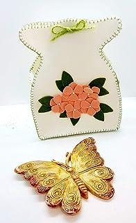 Farfalla Ceramica Decorata a mano + Sacchetto in feltro artigianale Le Ceramiche del Castello Nina Palomba Made in Italy D...