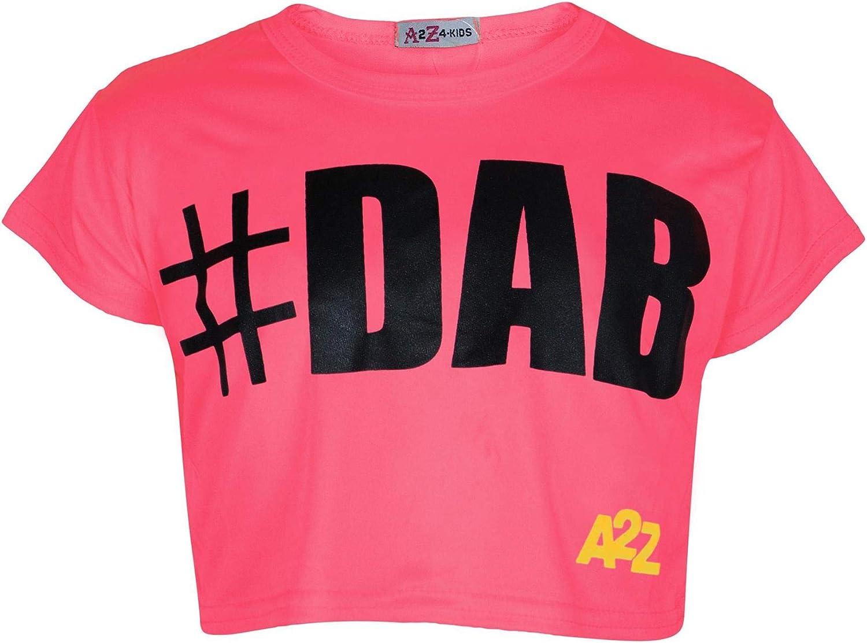 Kids Girls Crop Top #Dab Neon Pink Trendy Floss Fashion T Shirt Top Tees 5-13 Yr