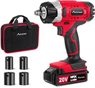 "20V MAX Cordless Impact Wrench with 1/2"" Chuck, Max Torque 2213 in-lbs, 4Pcs Driver.."