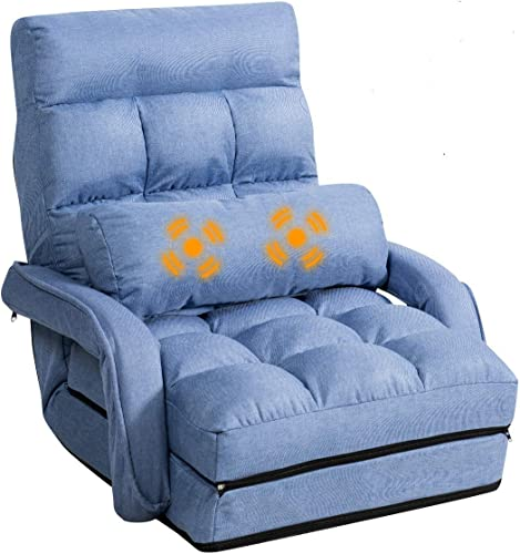 wholesale Giantex Updated Folding Massage Lazy online Sofa Floor Chair Sofa Lounger Bed with Armrests and a Pillow Lounger Bed online sale Chaise Couch (Blue) outlet online sale