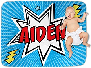 Comic Book Nursery Baby Blanket Personalized Superhero Keepsake for Boy Photo Prop Baby Shower Gift