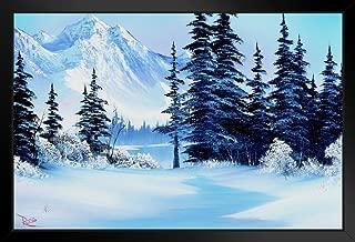 Bob Ross Winter Mountain Art Print Painting Black Wood Framed Art Poster 14x20