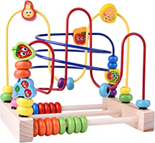 FUN LITTLE TOYS Wooden Toys, Beads Maze Roller Coaster Educational Toys for Toddlers, Baby Around Circle Bead Skill Improvement Wood Toys Birthday Gift for Boys & Girls