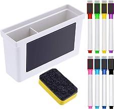 Caja de Plástico Magnética de Pizarra, 8 Piezas de Marcador Magnético Colorido con Tapa de Borrador, Borrador de Pizarra Blanca Magnética para Escuela Oficina Hogar, 10 Piezas Totalmente