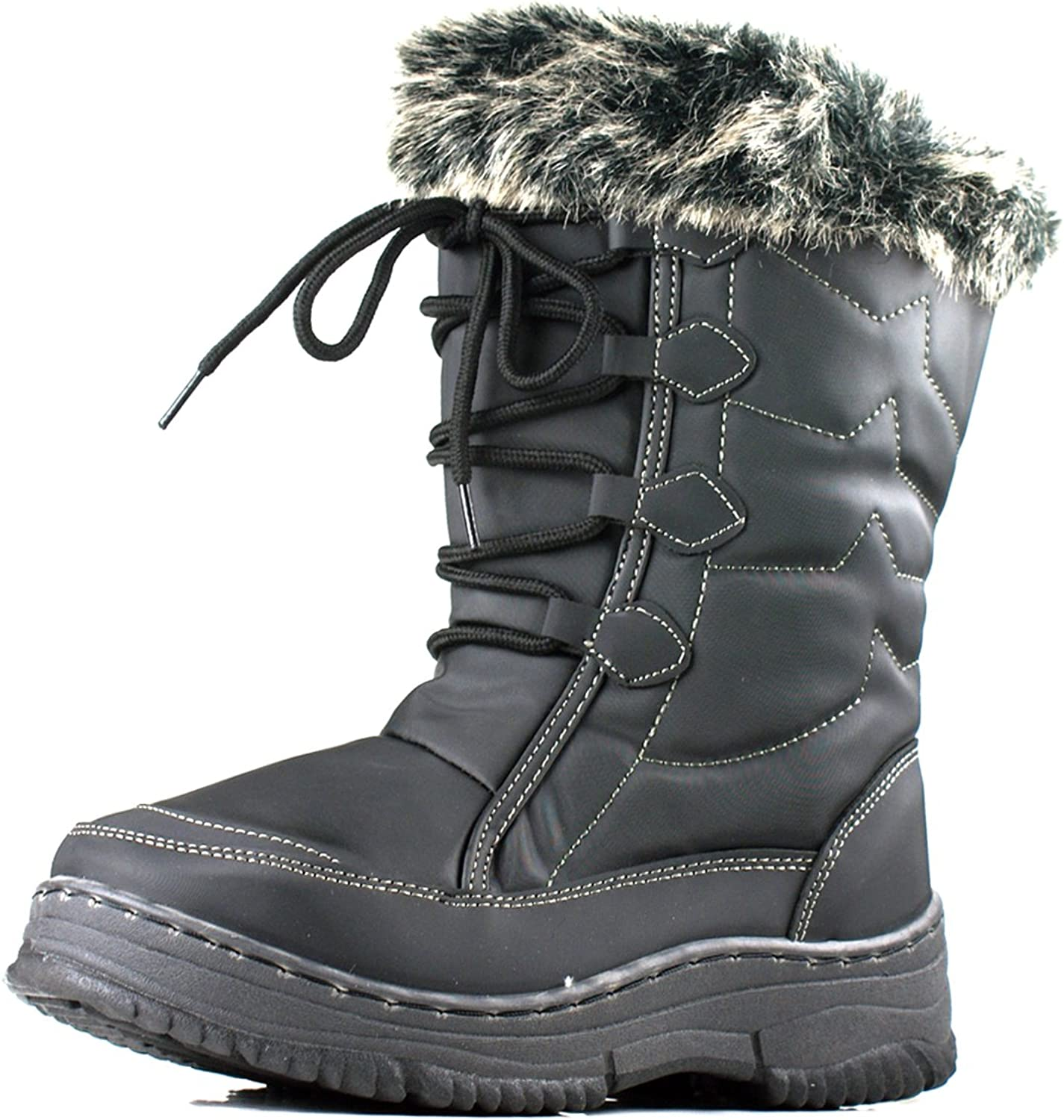 New Womens Winter Snow Boots Mid Calf Warm Rubber Wellies Flat Fashion Lace shoes Black