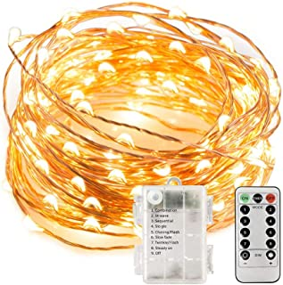 Nobadays Fairy Lights with Remote, Battery Operated Copper Wire 10m/33 ft 100 LED String Lights 8 Modes, UL Approved Waterproof Outdoor & Indoor Decorative Lights Warm White(Not Include Battery)