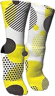 靴下 抗菌防臭 ソックス ドットイエローブラックアスレチックスポーツソックス、旅行&フライトソックス、塗装アートファニーソックス30 cmロング靴下