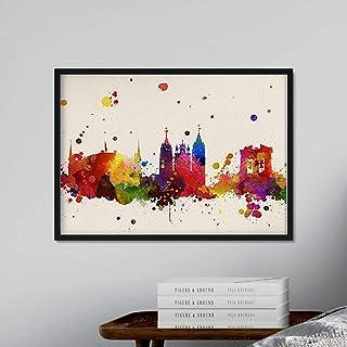Nacnic Art Leon Ville. Skyline Aquarelle Style et l'explosion des Couleurs. Affiche Format A3 imprimée sur 250 grammes et ...