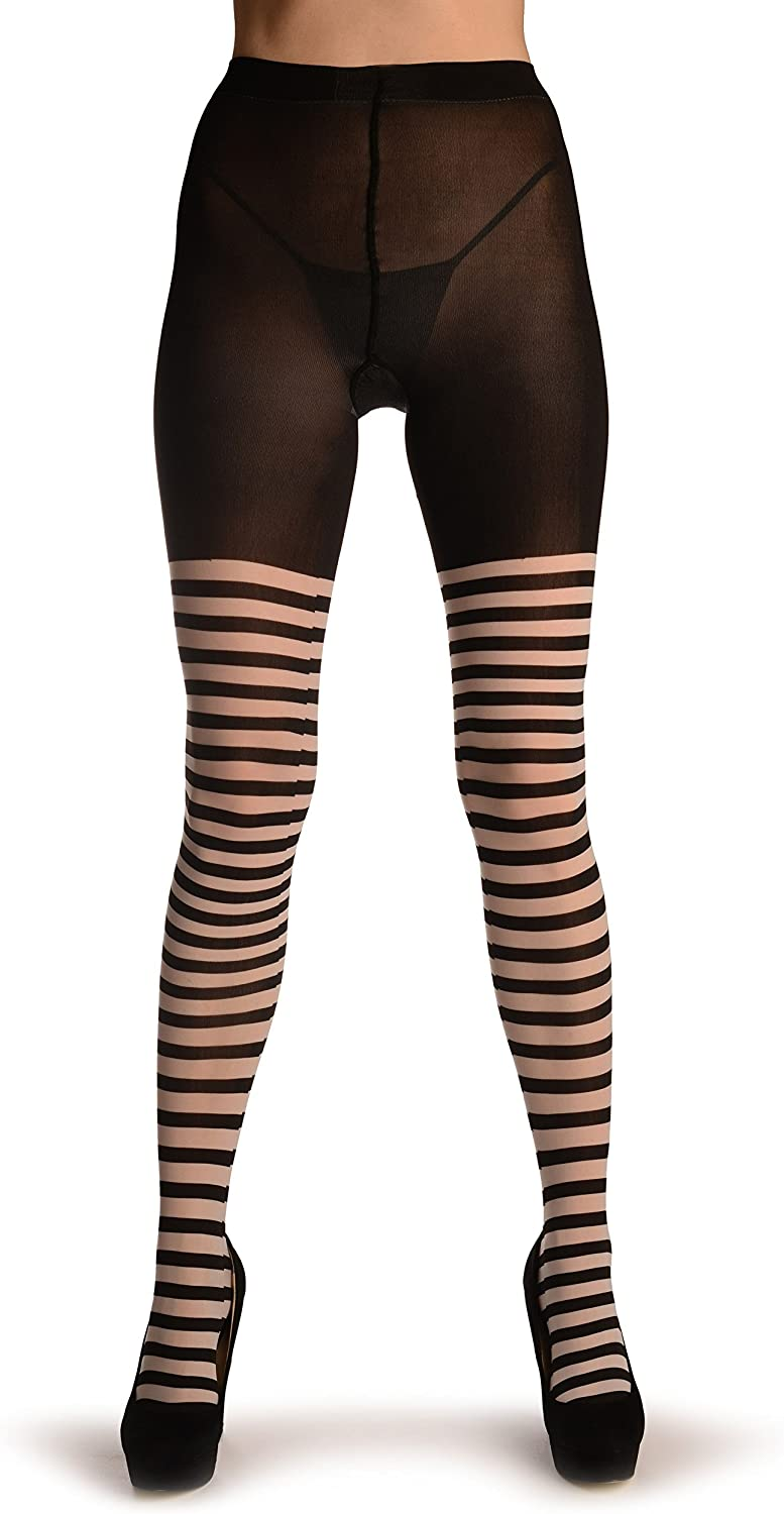 Black & White Woven Stripes Over The Knee - Black Pantyhose (Tights)