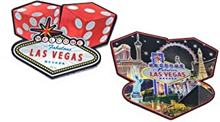 2-Sided Las Vegas Flat Magnet with Red Dice with Las Vegas Sign & Las Vegas Strip Collage Black Background(#7523921) (1)