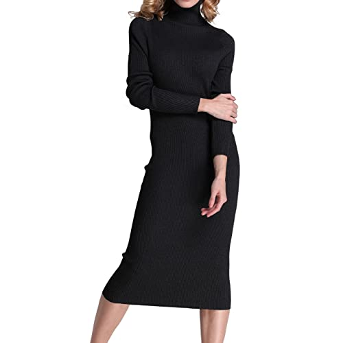 50a320b846 Rocorose Women s Turtleneck Ribbed Elbow Long Sleeve Knit Sweater Dress