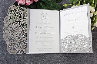 Apribile taglio laser inviti matrimonio fai da te partecipazioni matrimonio bianca carta con busta - CONFEZIONE DA 50 INVI...