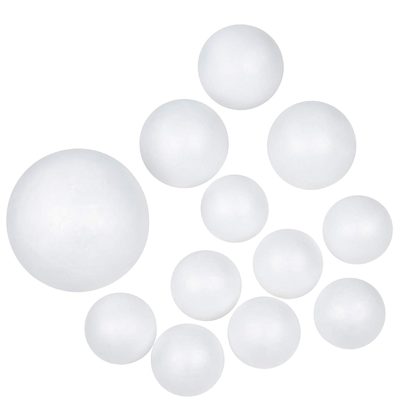 Craft Foam Balls - 12-Piece White Polystyrene Foam Balls for DIY Craft and Modeling, 3-Inch, 4-Inch, 6-Inch