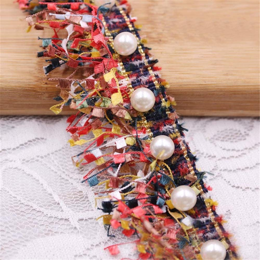 1 Brand Cheap Sale Venue Yard Tassel Fringe Lace Edge Multicolor with Trim Pearl Sale item Ribbon