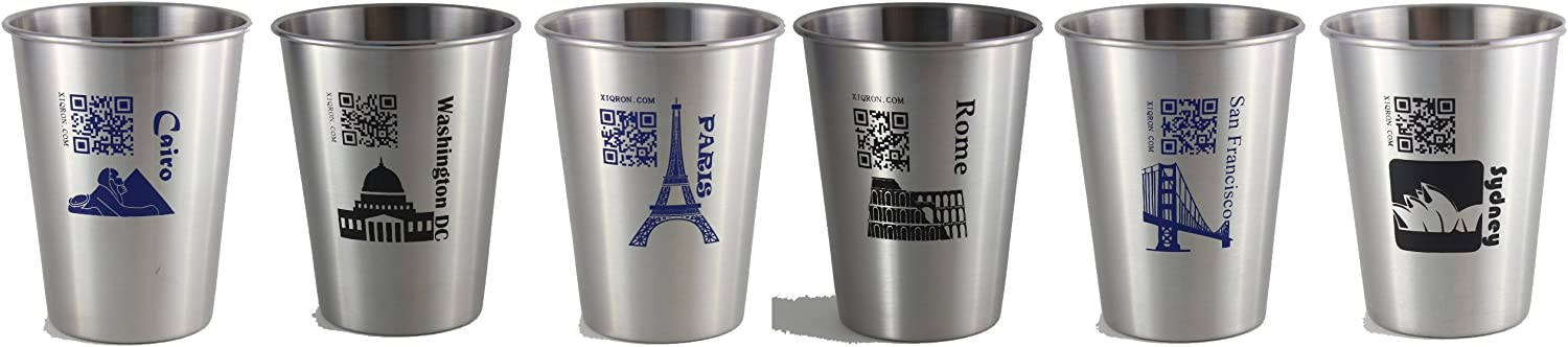 World Cup Series 2, Set of 6 Stainless Steel Cups, Size 12oz, with Included Online World Cup Trivia Game