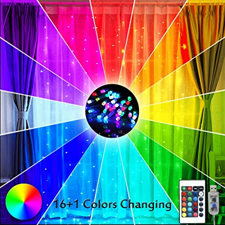 Amazon Com Curtain Lights 16 Color Changing Rainbow Backdrop Window Lights 200 Led Usb Remote Control Colorful Icicle Fairy Lights String Lights For Christmas Bedroom Decor 9 8ft X 9 8ft Multiple Color Home Improvement