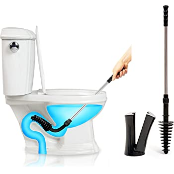 ToiletShroom Revolutionary Plunger, Squeegee, Clog Remover, Drain Cleaner, Bathroom Toilet Dredge Tool, Stainless Steel Handle with Caddy Holder, Оne Расk, Black
