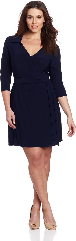 Star Vixen Women's Plus-Size Faux Wrap Dress