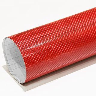 IlMondoMall 次世代の立体感 4D カーボンシート カーボンステッカー レッド 4Dカーボン (152×035cm, レッド)