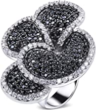 YLMyself Great Product Flower Big Ring Pave AAA Jet and Clear Cubic Zirconia Stones Large Party Rings Designer Jewelry Fast delivery