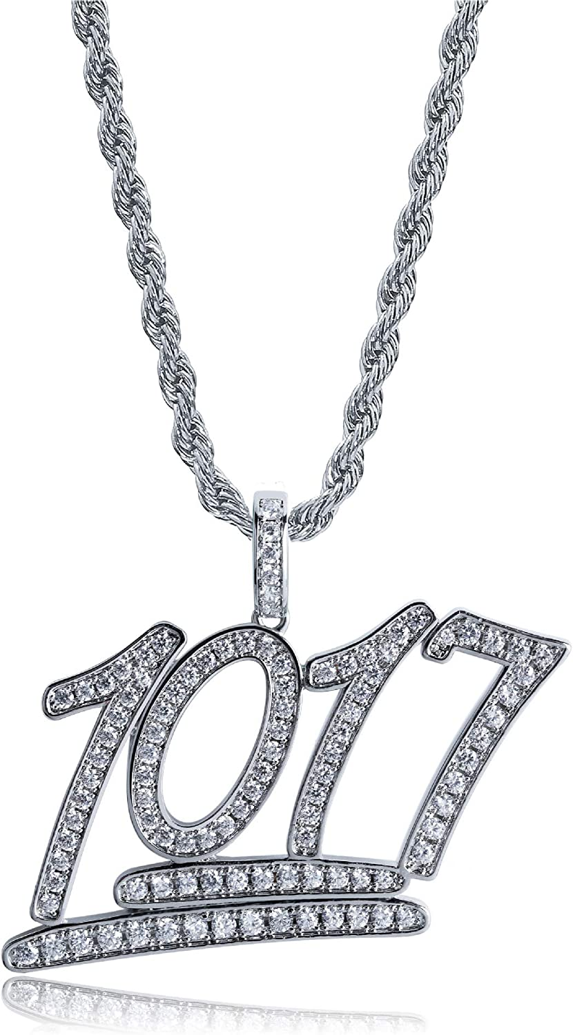 """LC8 Jewelry Hip Hop 1017 Pendant Iced Out Rhinestone Diamond Bling Shiny Creative Pendant with 24"""" Rope Chain for Men Women"""