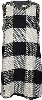 Molly Bracken Womens Beaded Sweater Dress Checker Print Large