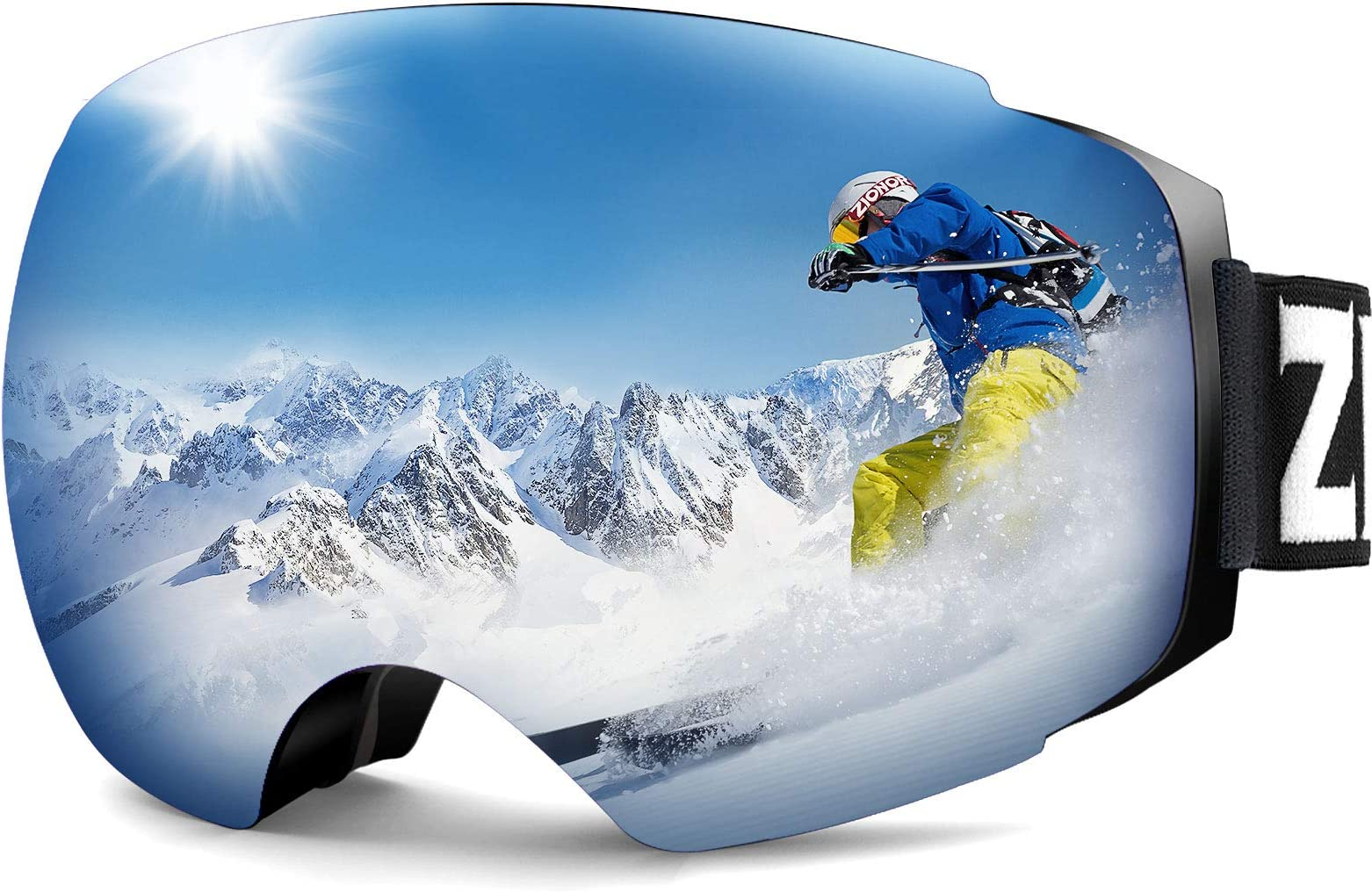 ZIONOR X4 Ski Goggles Magnetic Lens - Snowboard Snow Goggles for Men Women Adult