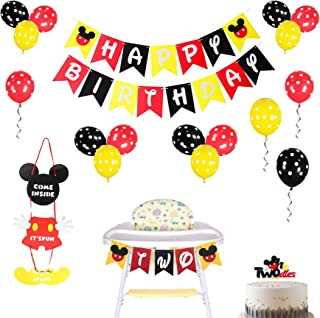 2 Years Old Theme Mickey Mouse Birthday Party Decorations Kit, Birthday Banner, Door Sign, Cake Topper for Birthday Party