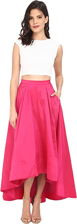 Cap Sleeve Sequin Top with Taffeta A Line High-Low Skirt