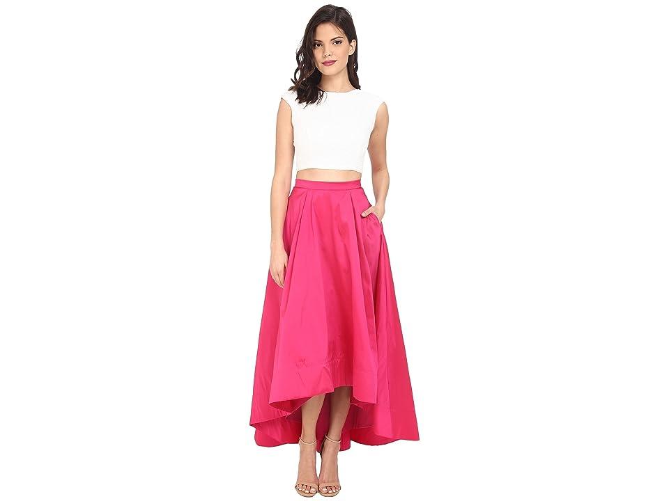 Image of Aidan Mattox Cap Sleeve Sequin Top with Taffeta A Line High-Low Skirt (Ivory/Fuchsia) Women's Dress